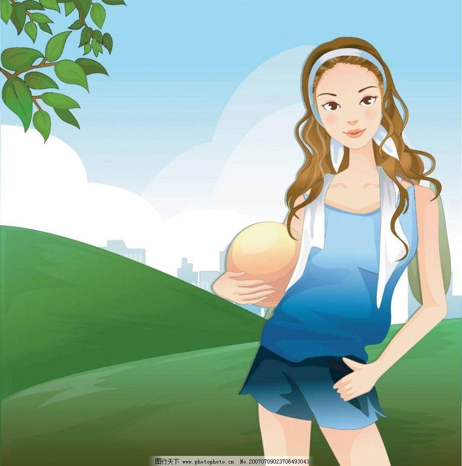 卡通运动美女 体育 卡通人物 健身 运动 美女 女人 女性 卡通美女
