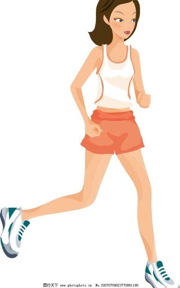 美女跑步 跑步 卡通人物 健身 运动 美女 女人 女性 卡通美女 卡通
