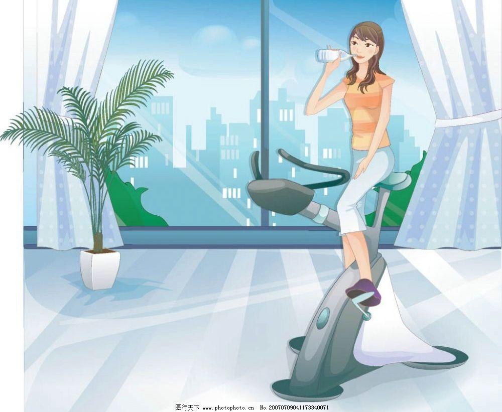 健身女性喝水 健身器 卡通人物 健身 运动 美女 女人 女性 卡通美女