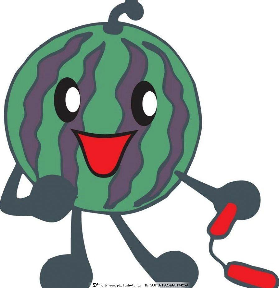 西瓜 卡通水果 动漫水果 矢量水果 动漫水果蔬菜 矢量图库