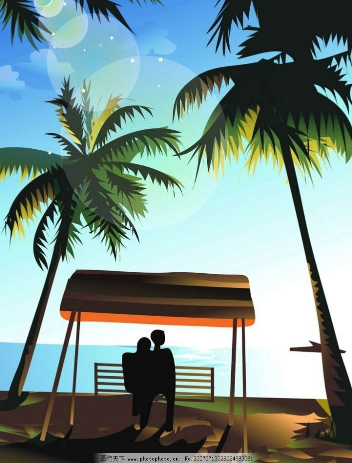 海边情侣背影图片
