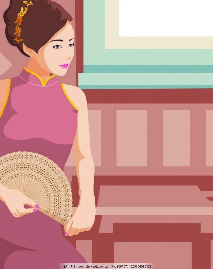 拿扇子旗袍美女图片