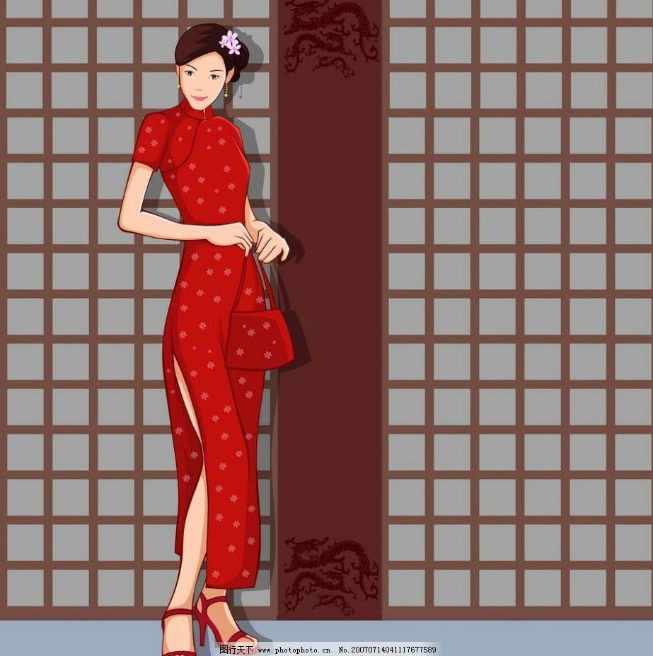 穿红色旗袍的女人 红色手包 传统美女 古典美女 中国古典美女 矢量