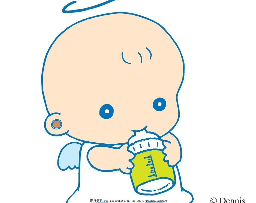 奶瓶 天使 小天使 宝宝 婴儿 儿童 卡通宝宝 卡通婴儿 卡通儿童 矢量