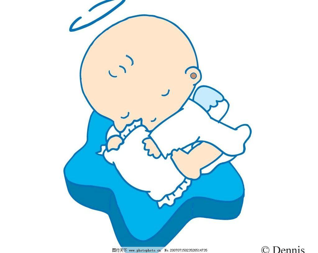 小天使睡觉 小天使卡通图 天使 小天使 宝宝 婴儿 儿童 卡通宝宝 卡通