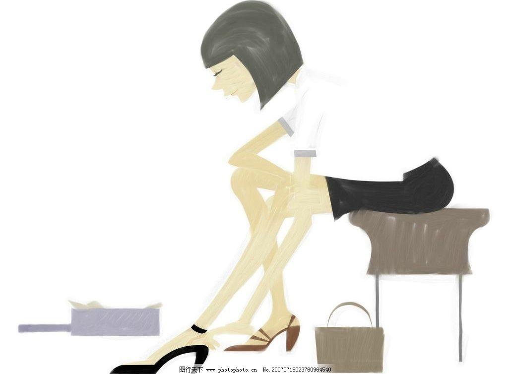 卡通女孩试鞋子 鞋子 女人 女性 女孩 美女 卡通人物 卡通女性 卡通