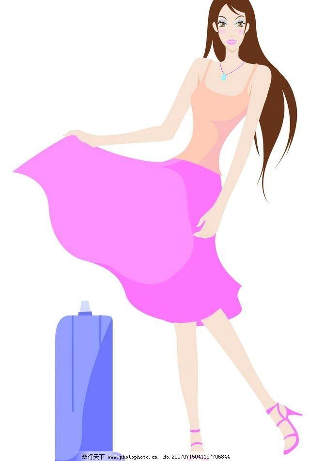 flash动画 片头广告  穿裙子女孩 行李包 裙子 长发 旅行包 女性 女人