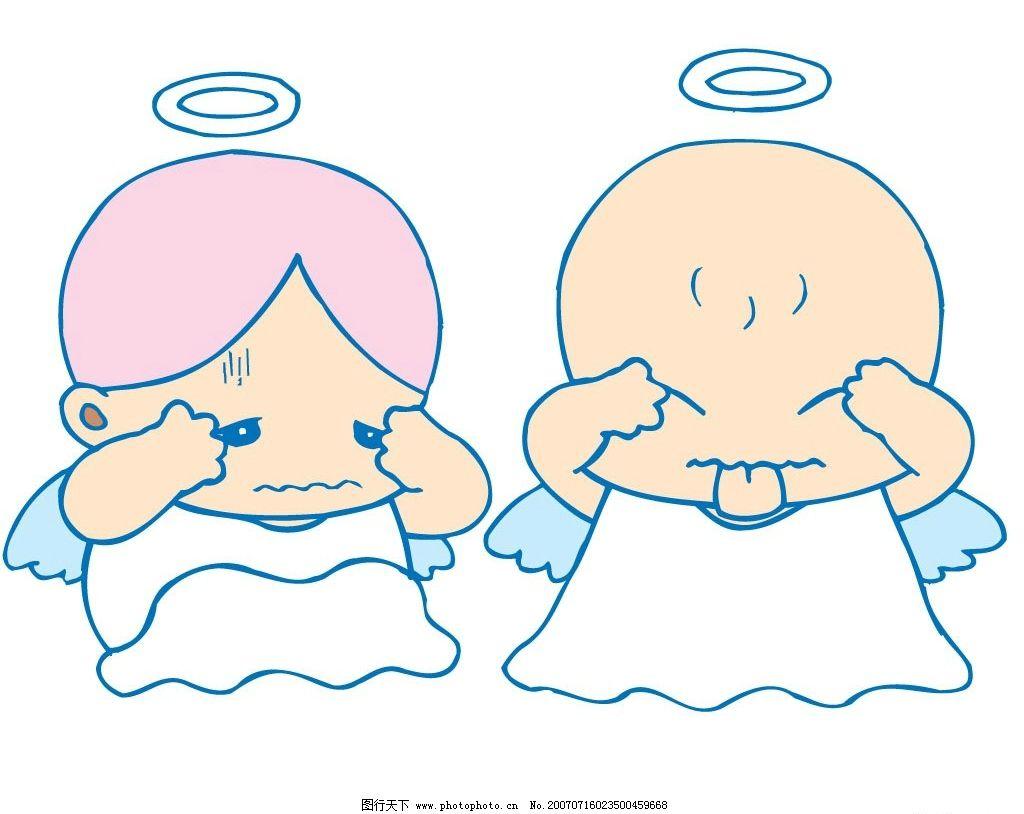 小天使做鬼脸 天使 小天使 宝宝 婴儿 儿童 卡通宝宝 卡通婴儿 卡通儿