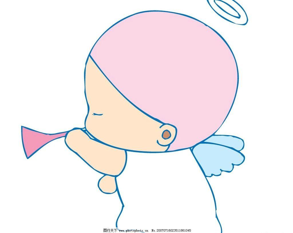 小天使吹喇叭 天使 小天使 宝宝 婴儿 儿童 卡通宝宝 卡通婴儿 卡通
