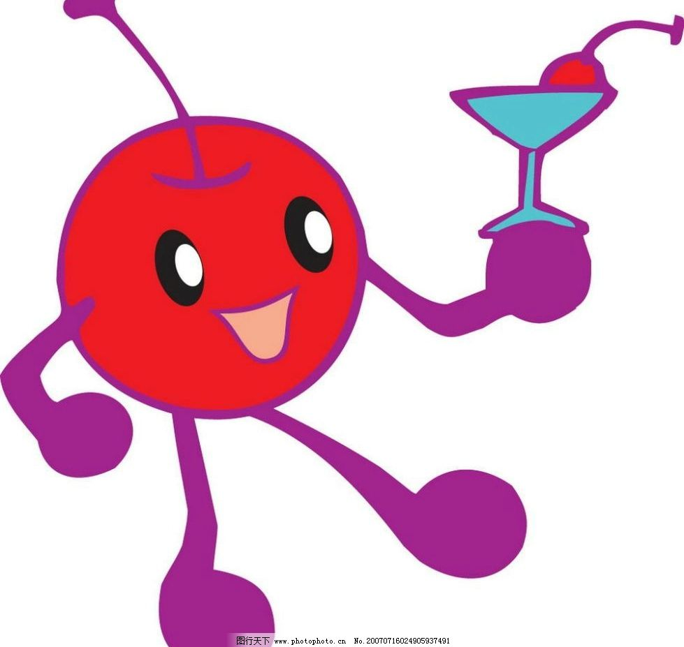 动漫樱桃 饮料 杯子 水果卡通形象 矢量水果卡通 卡通水果 卡通水果图