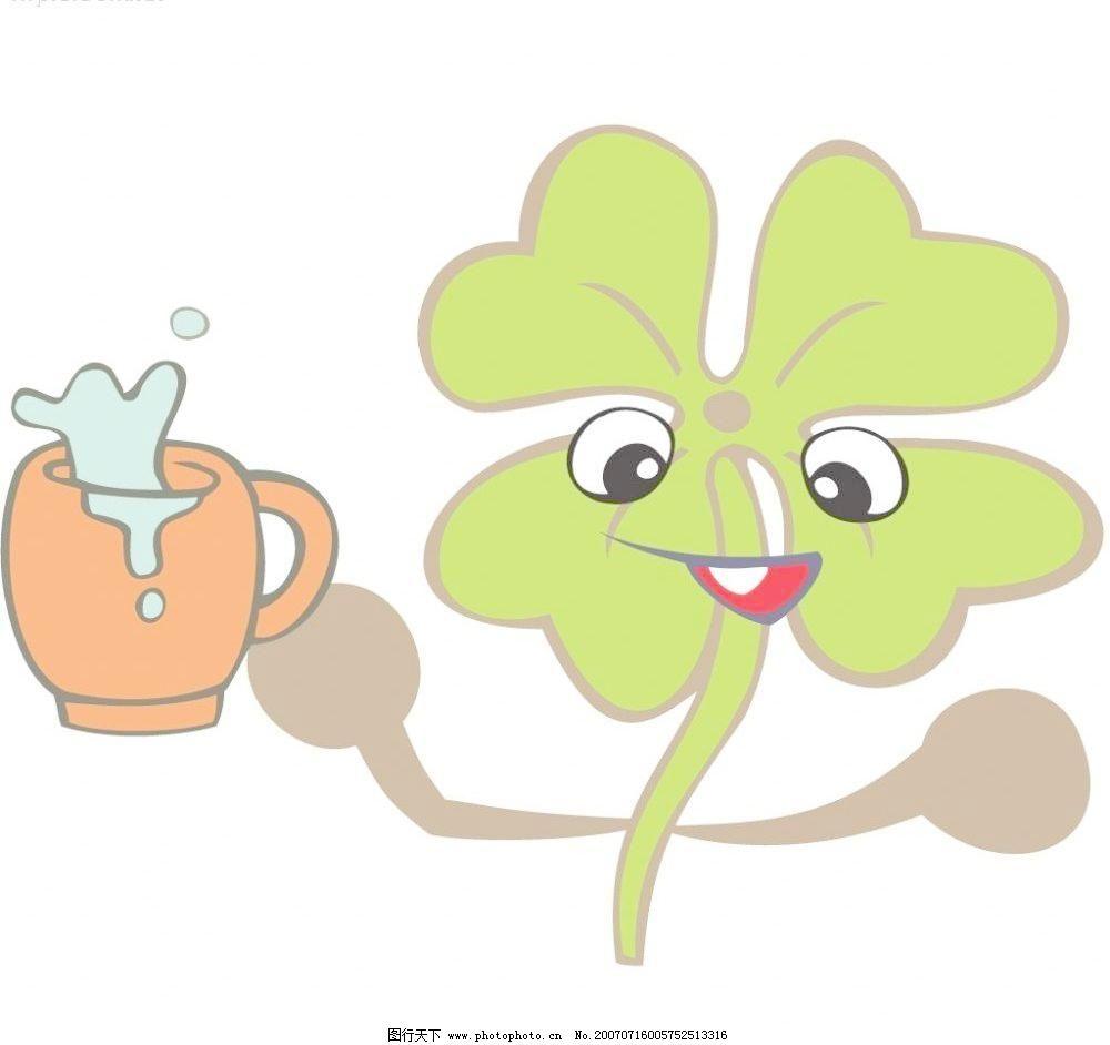 杯子 动漫 喝水 花草 花朵 卡通花朵 卡通花卉 花卉卡通图矢量素材