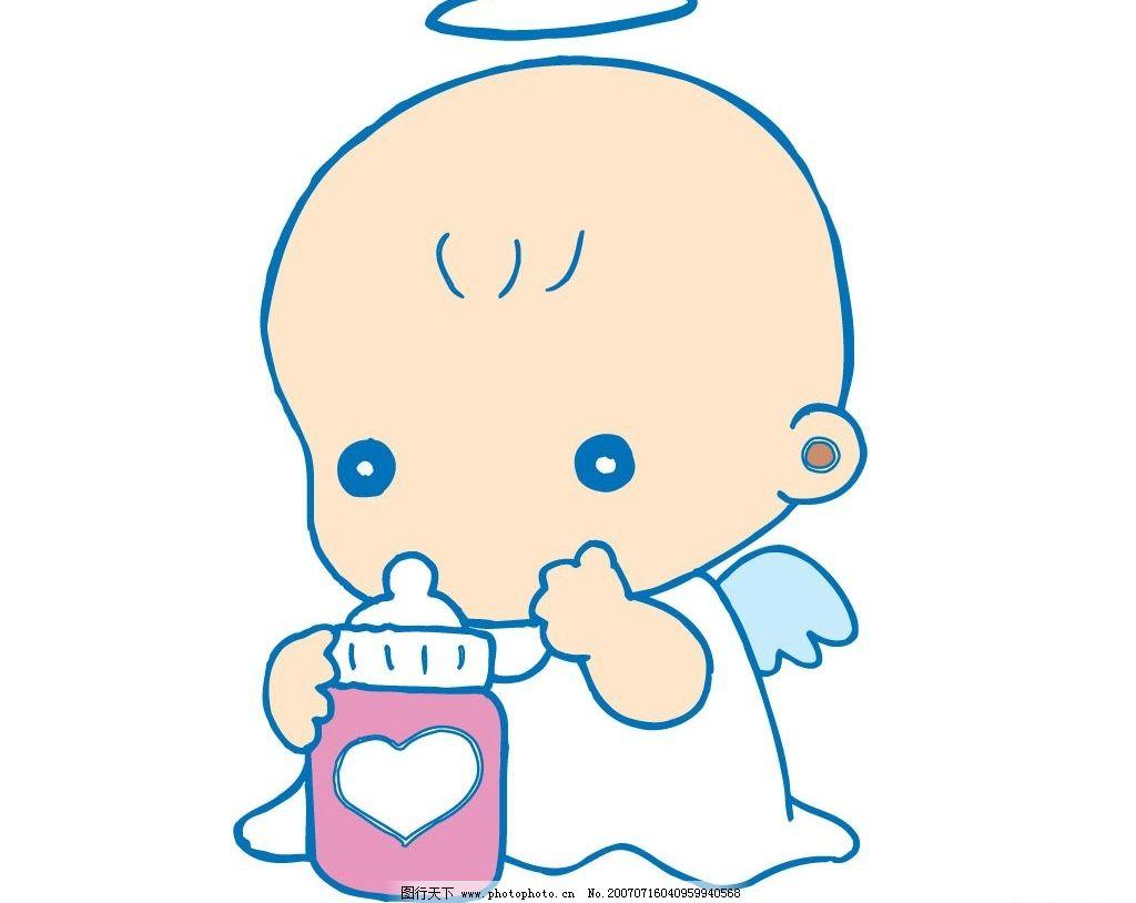 flash动画 动画素材  抱奶瓶小天使 天使 小天使 宝宝 婴儿 儿童 卡通