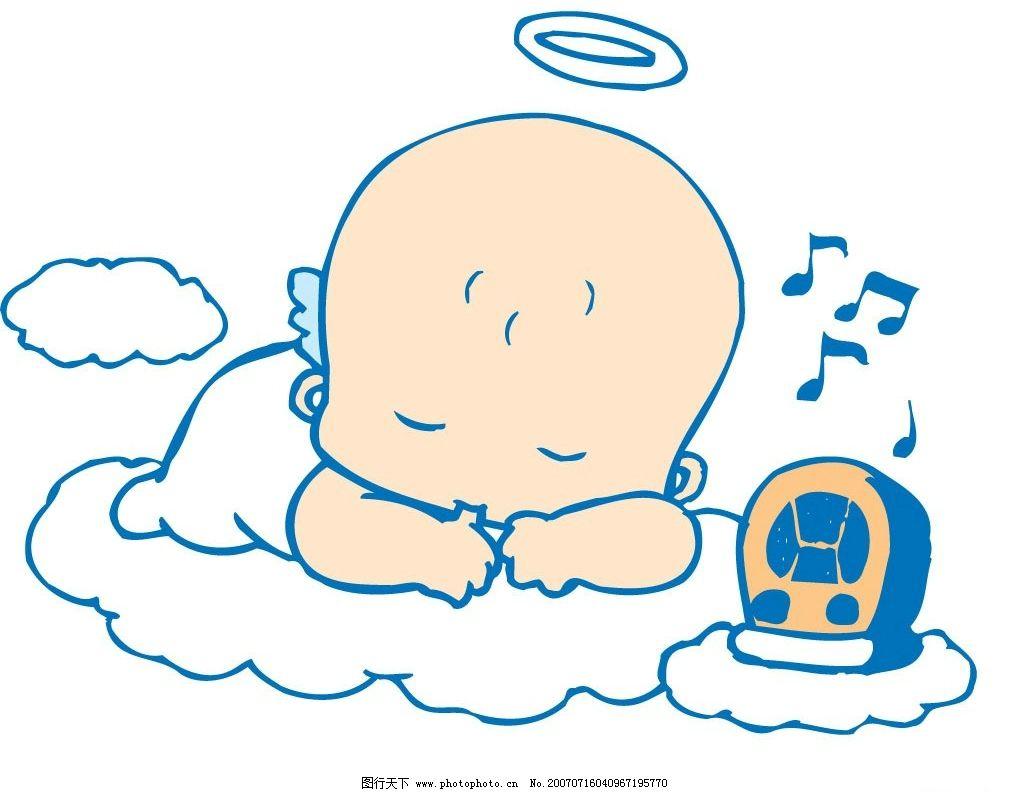 小天使睡觉 宝宝 婴儿 儿童 卡通宝宝 卡通婴儿 卡通儿童 矢量宝宝