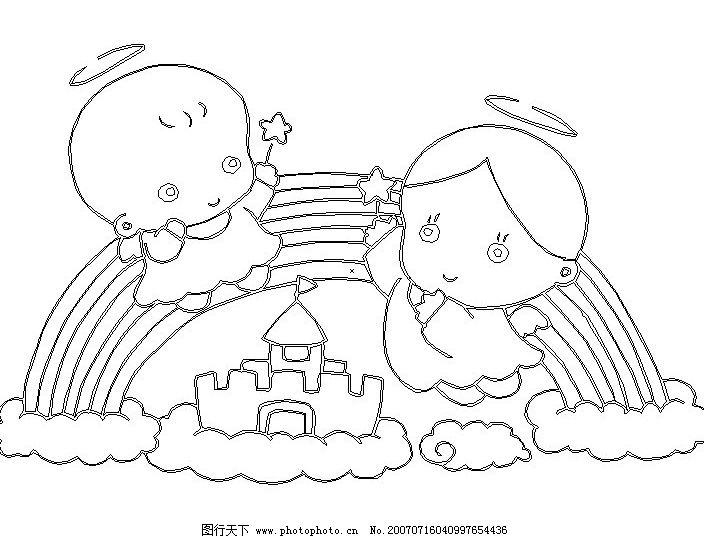 flash动画 动画素材  卡通天使 天使 黑白 小天使 宝宝 婴儿 儿童