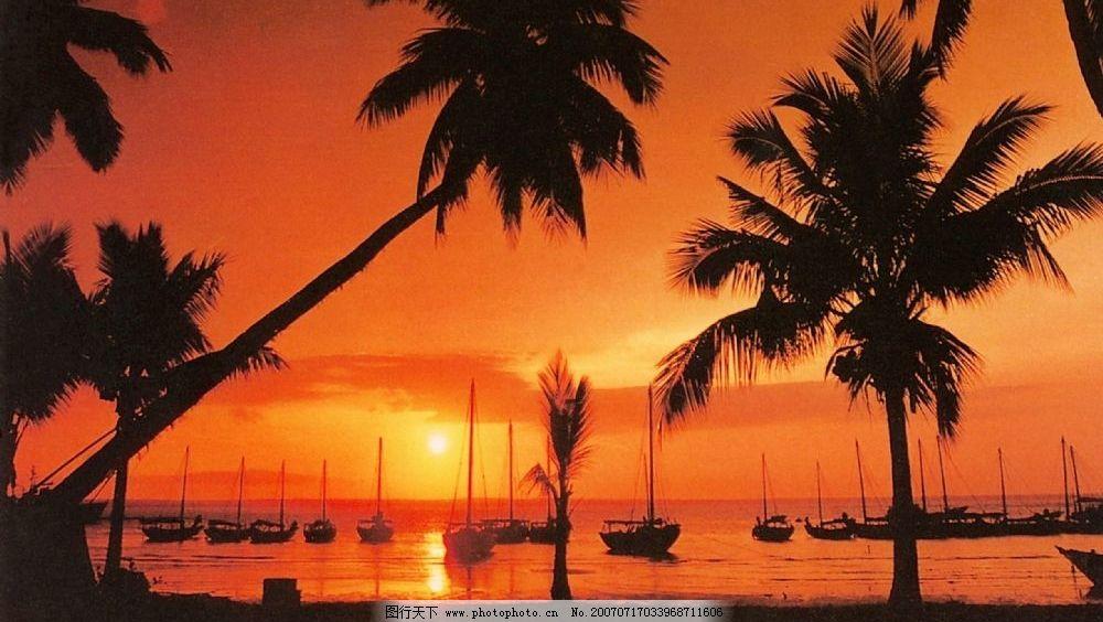 文昌椰林海滨晚霞 海南风光 海南省风景 海南省景色 海南省的照片