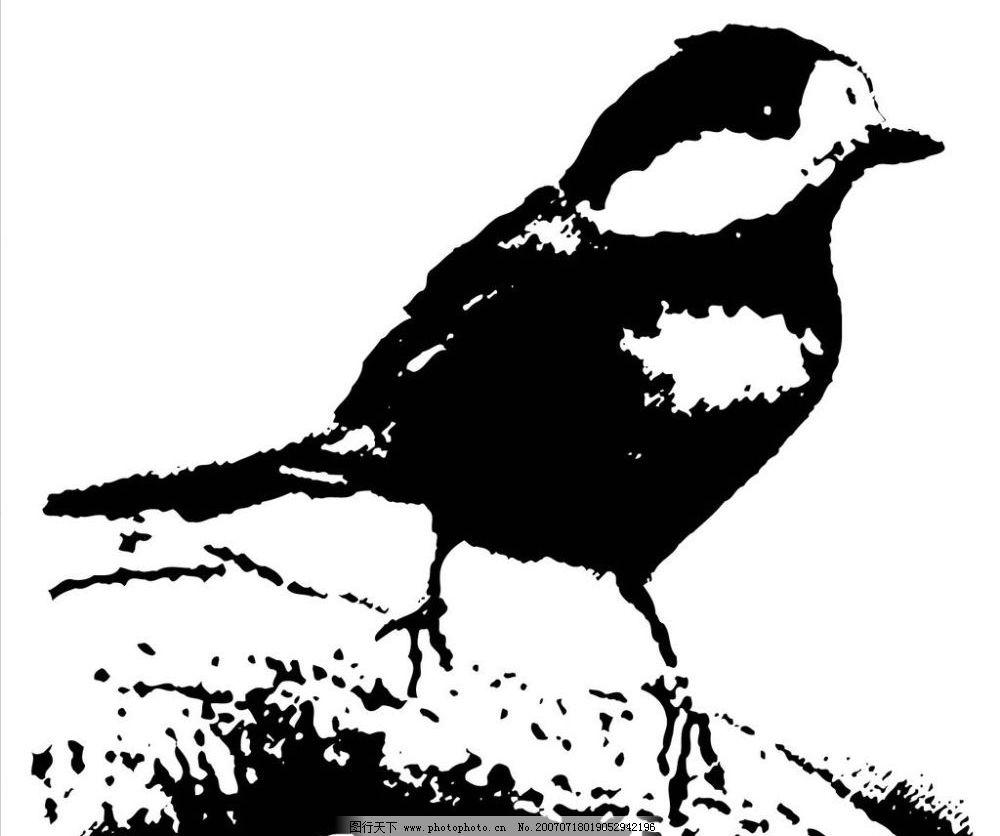 小鸟水墨画素材图片