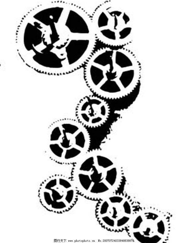 齿轮 画 黑白画 矢量 其他矢量 矢量素材 黑白矢量素材 矢量图库 ai