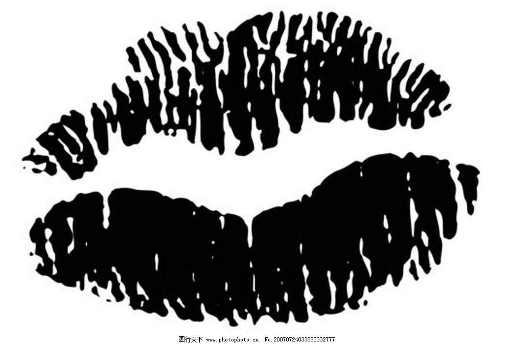 黑白唇印 画 黑白画 矢量 其他矢量 矢量素材 黑白矢量素材 矢量图库