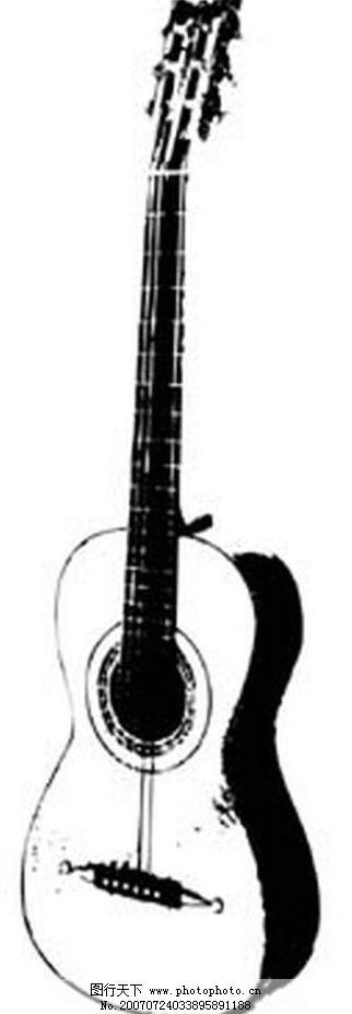 吉他黑白 黑白吉他 画 黑白画 矢量 其他矢量 矢量素材 黑白矢量素材