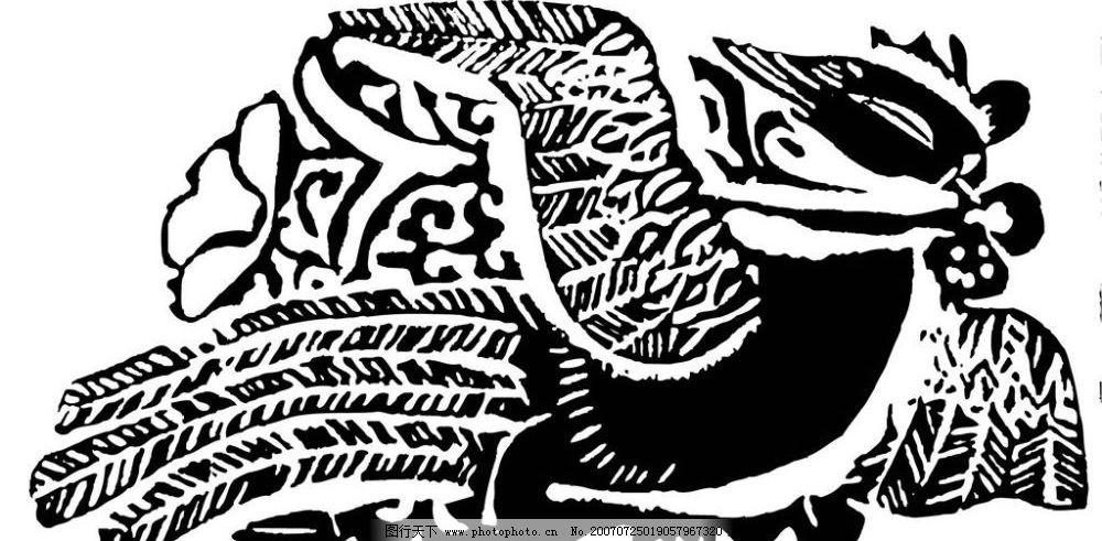 鸟 凤凰 画 壁画 陶瓷壁画 矢量 文化艺术 美术绘画 壁画黑白矢量图