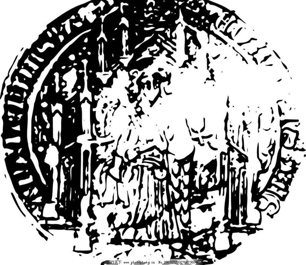 硬币黑白矢量图图片