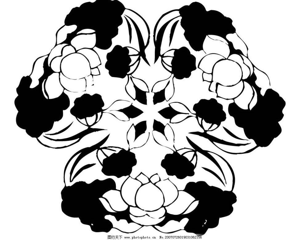 花卉陶瓷壁画 矢量壁画 文化艺术 美术绘画 壁画黑白矢量图 矢量图库