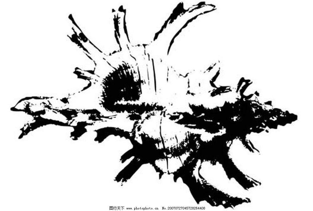 海螺 贝壳 画 黑白图 矢量黑白图 黑白矢量图 生物世界 海洋生物