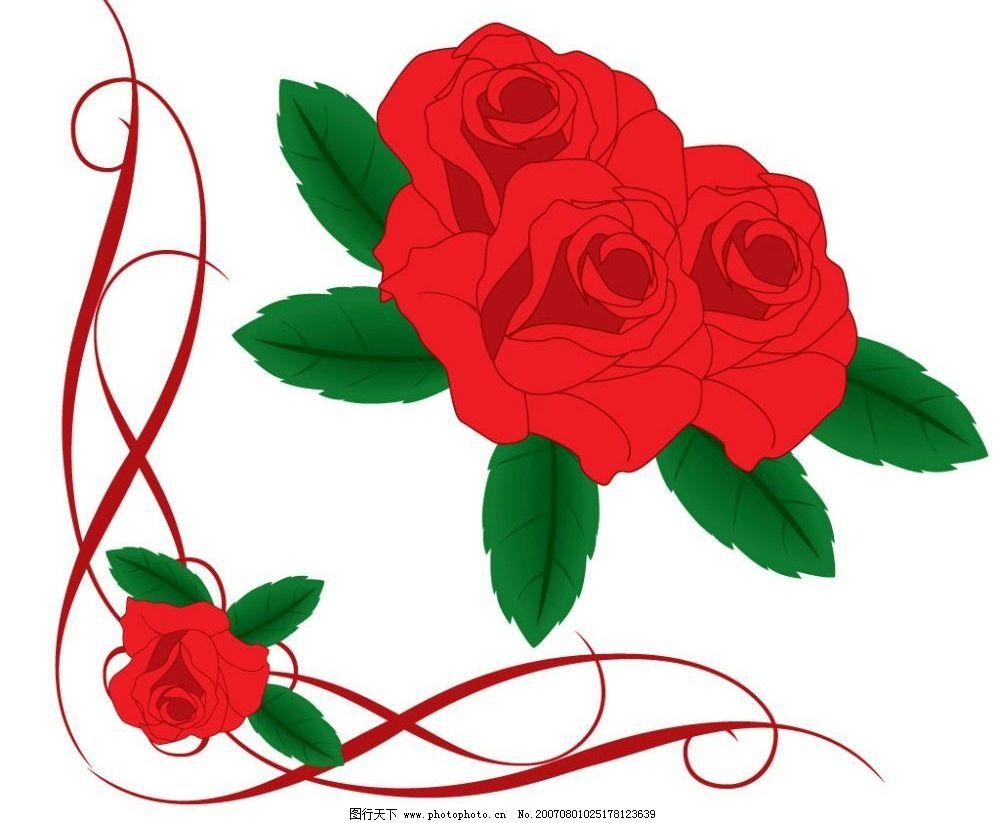 精美的玫瑰花 红玫瑰 花卉 鲜花 花朵 矢量 花矢量图 鲜花花卉