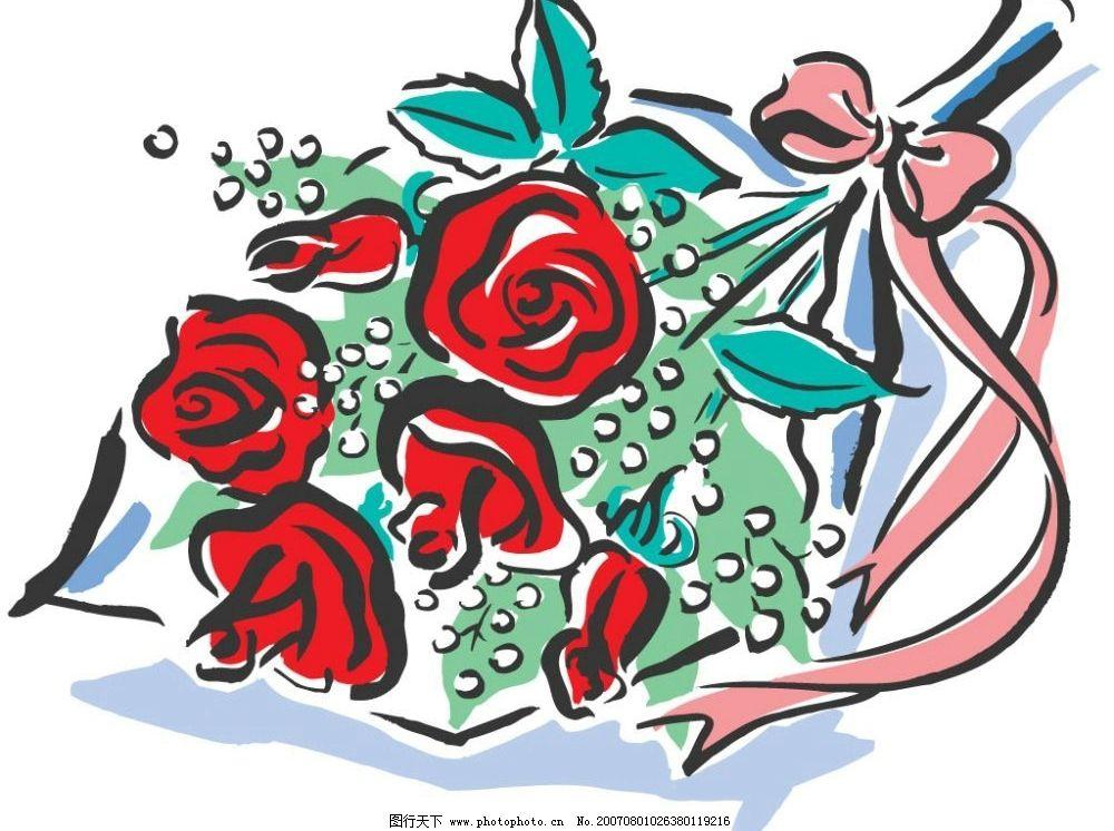 玫瑰花 花卉 花朵 鲜花 爱情 卡通 矢量 爱心爱情素材 矢量图库