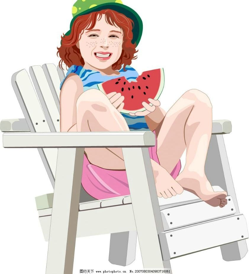 雀斑女孩吃西瓜图片_动画素材_flash动画_图行天下图库