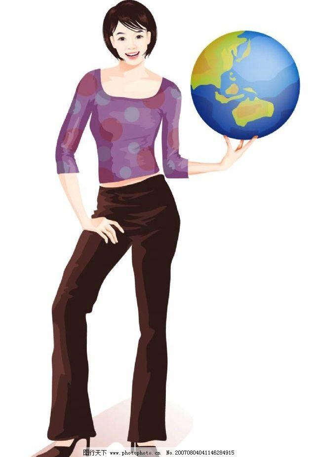 美女手托地球图片