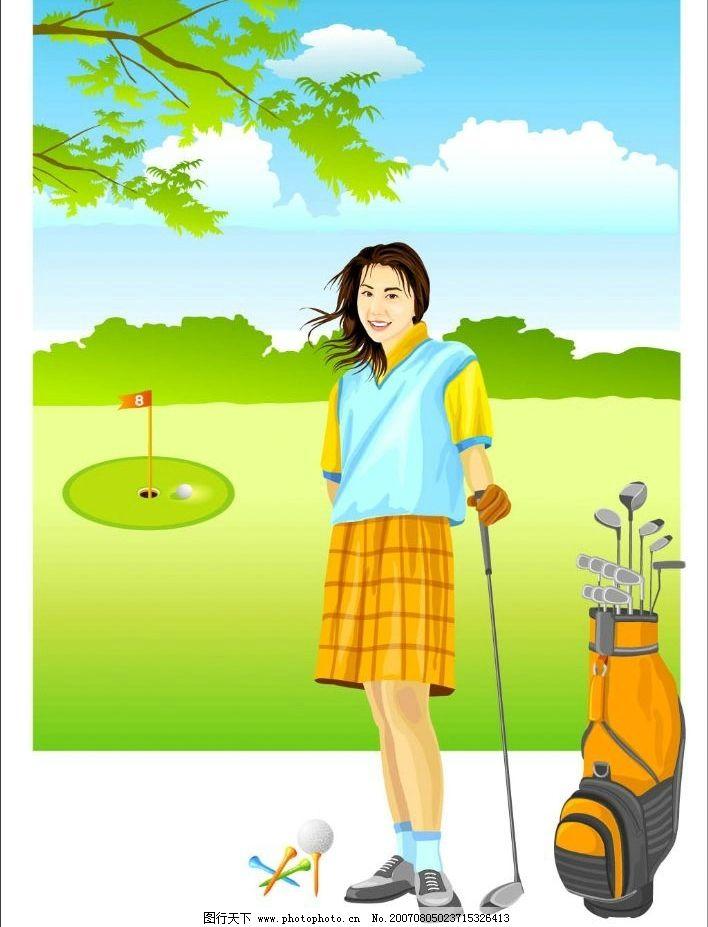 高尔夫球场的女人图片
