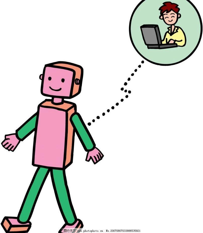 机器人 科技 科学 漫画 卡通 矢量 其他矢量 矢量素材 科技漫画 矢量