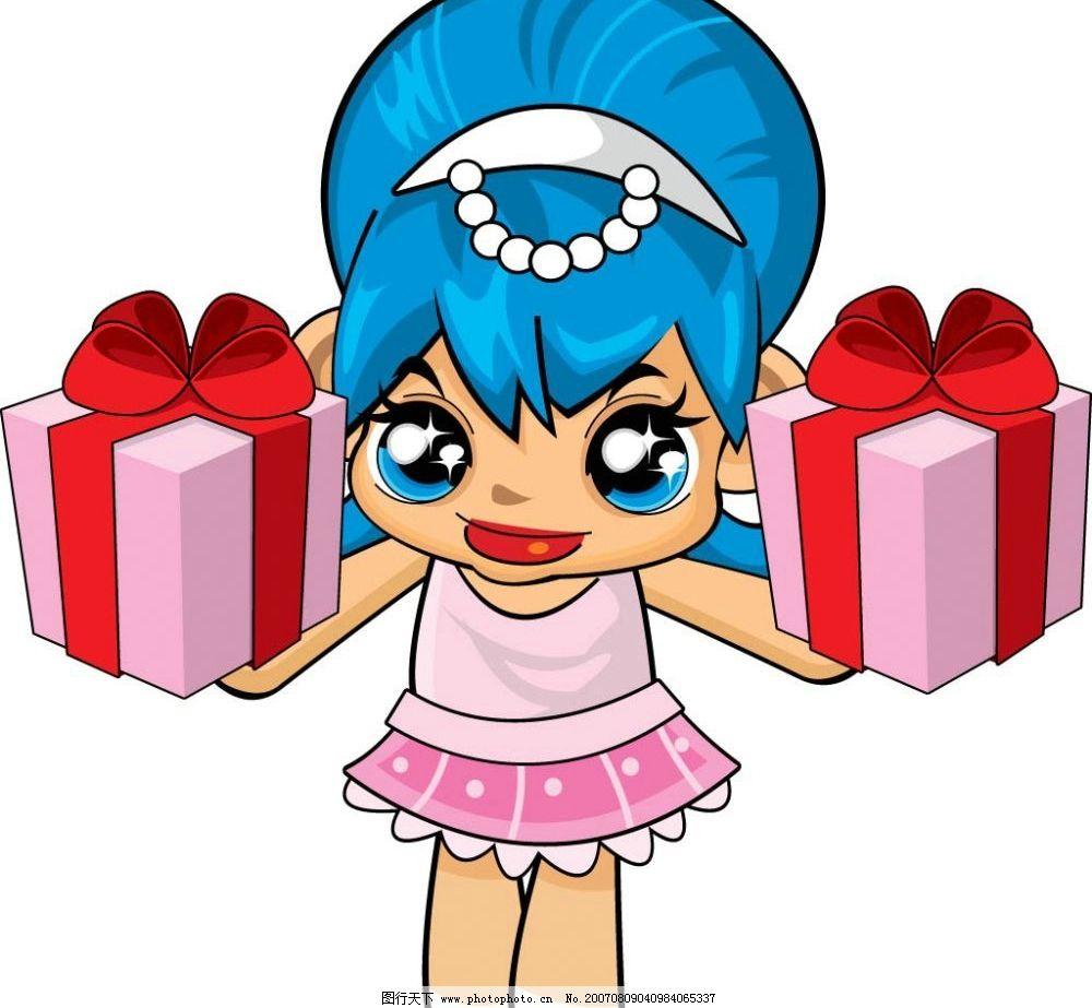 卡通小女孩 礼品盒