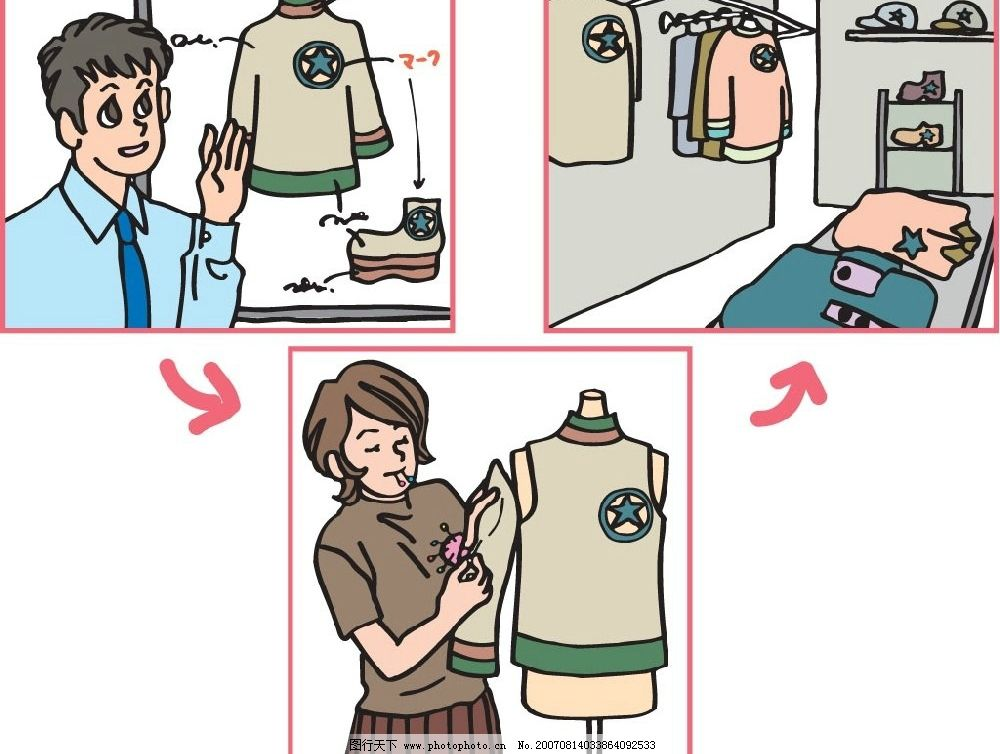 定做衣服漫画 插画 矢量插画 矢量漫画 矢量图 其他矢量 矢量素材