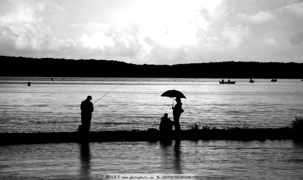 湖边垂钓 湖泊 钓鱼 风景