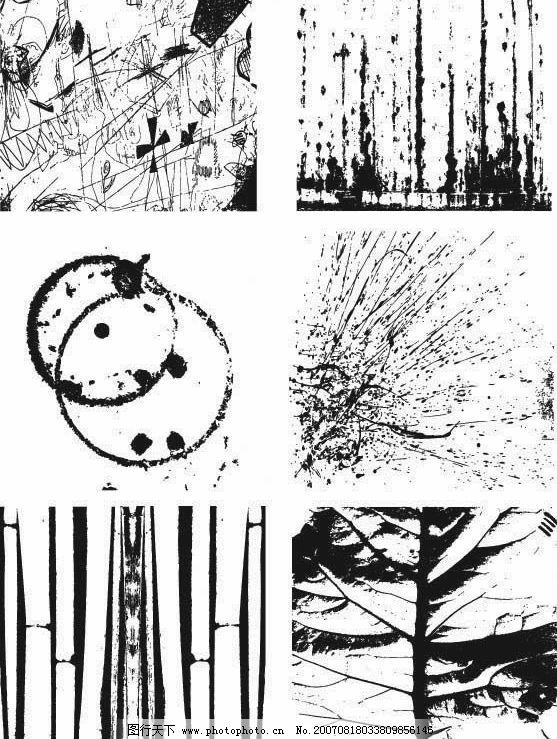 黑白自然素材 涂鸦裂痕泼墨 图片素材 黑白素材