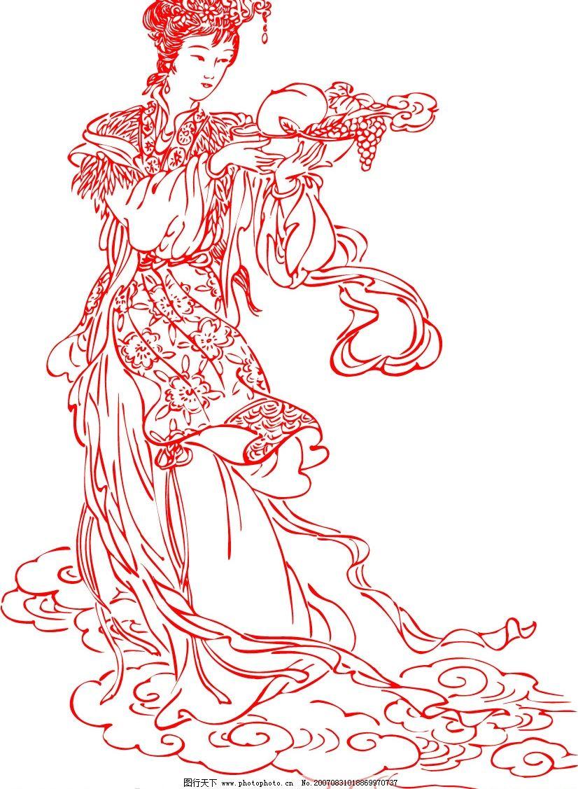 手绘古风仙女铅笔画