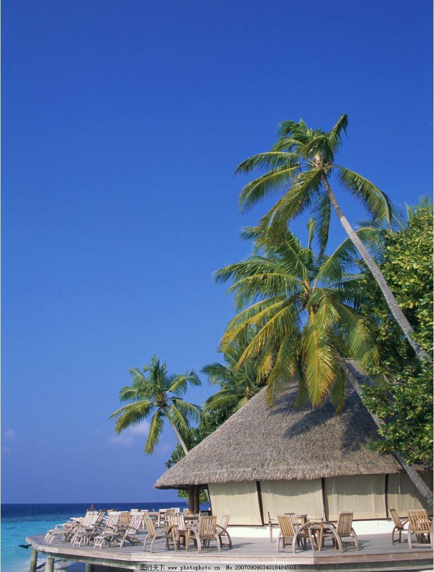 海岛度假村 茅草屋 椰子树 旅游摄影 国外旅游 海滨度假 摄影图库
