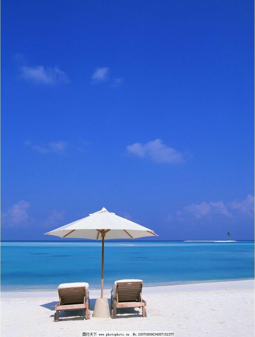 海滨度假 遮阳伞 太阳伞 蓝天 白云 海滩 沙滩 大海 海洋 海水 大海