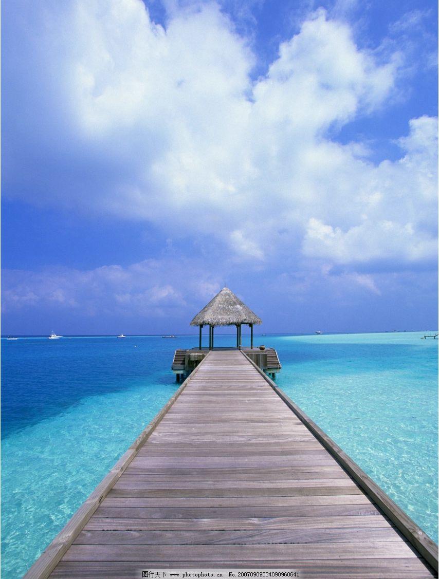 度假村简易码头 蓝天 大海 海洋 海水 大海图片 大海的图片 大海照片