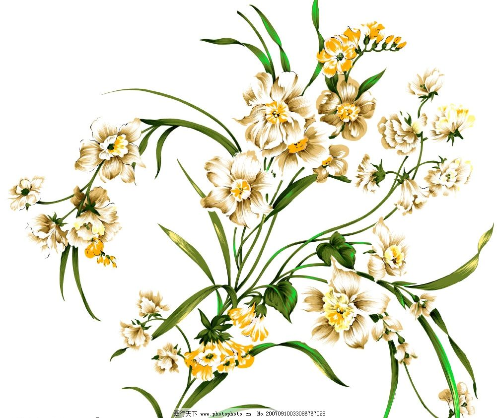 精美花朵 小花朵 韩国花纹psd素材 花朵psd素材 卡通花朵 韩国风格