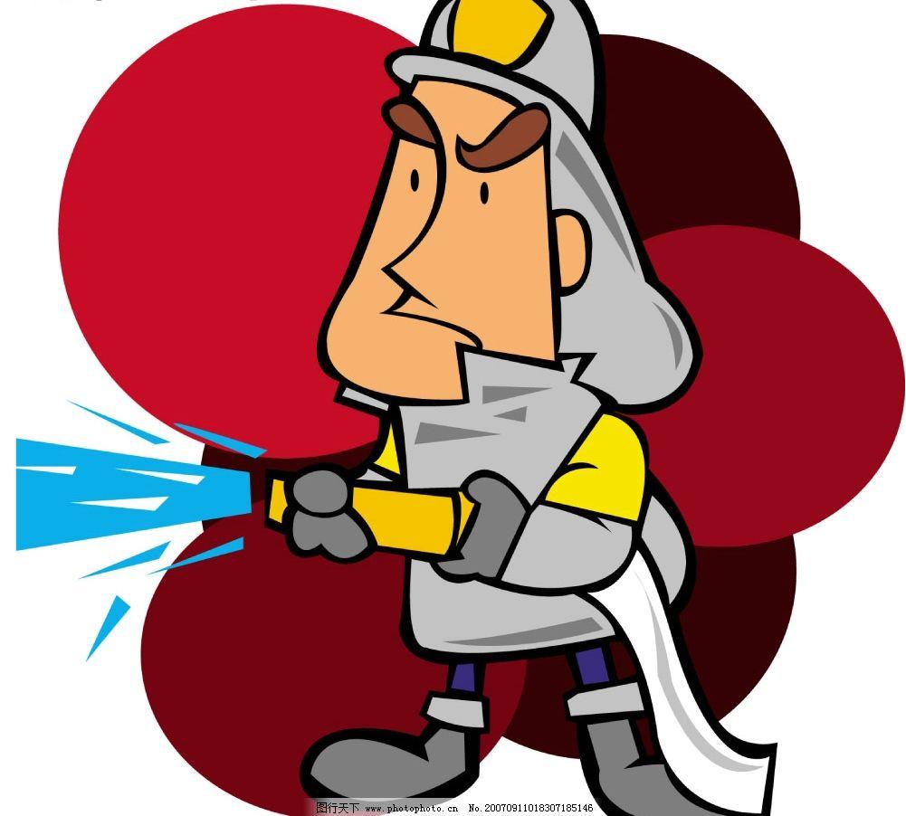 消防员灭火器.卡通人物孤立在白色的