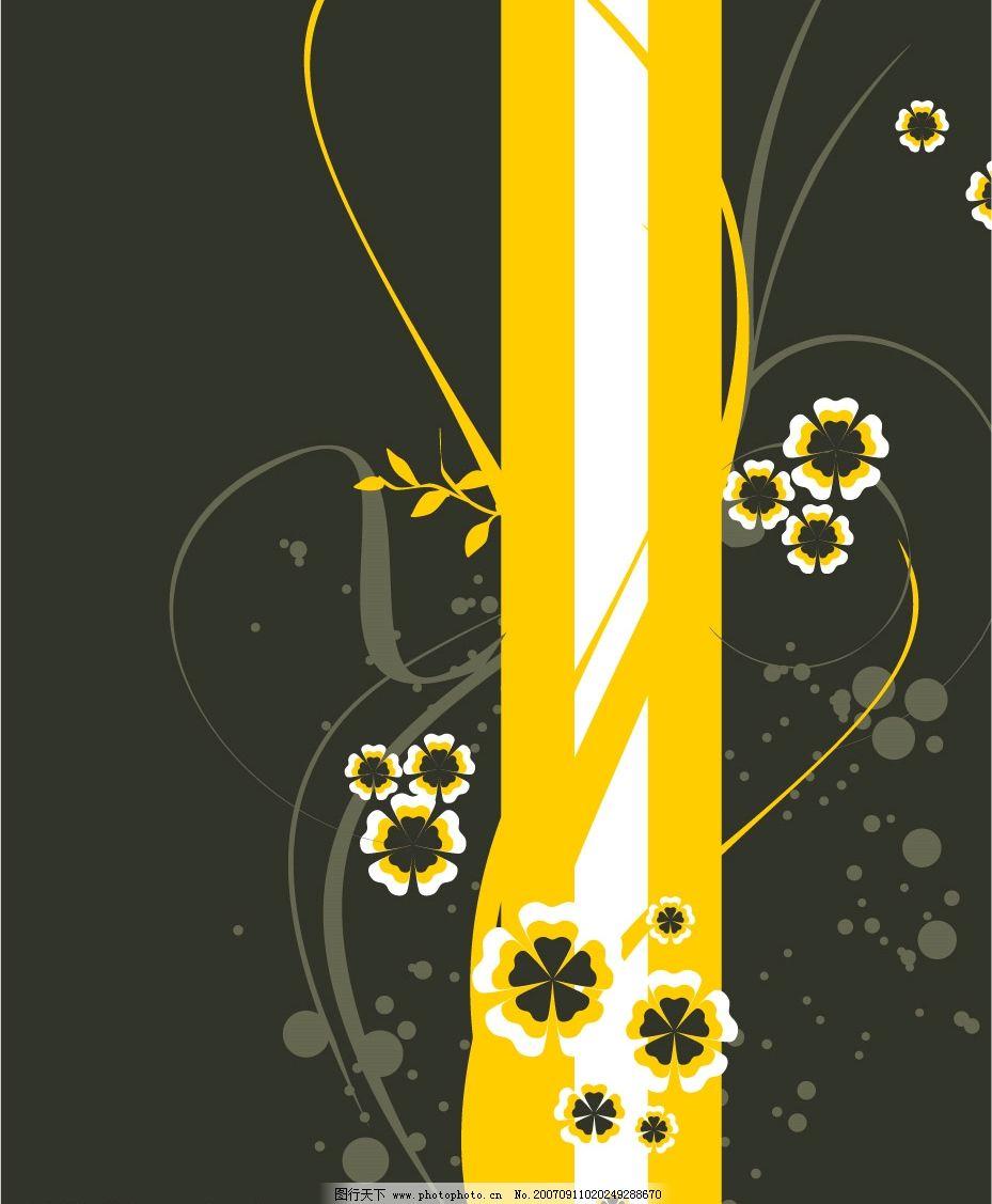 漂亮底纹 花 圈 叶 暗色 底纹边框 底纹背景 韩国花纹背景素材 矢量图