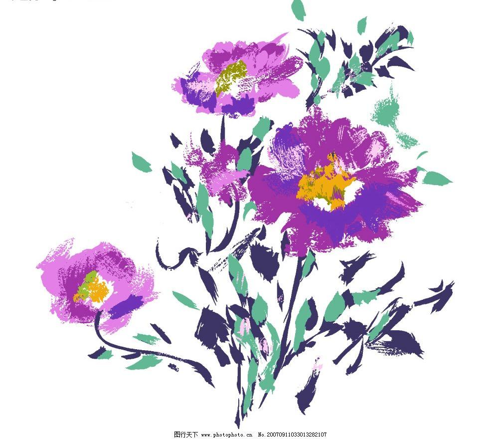 花卉水墨画 小花朵 韩国花纹psd素材 花朵psd素材 卡通花朵 韩国风格