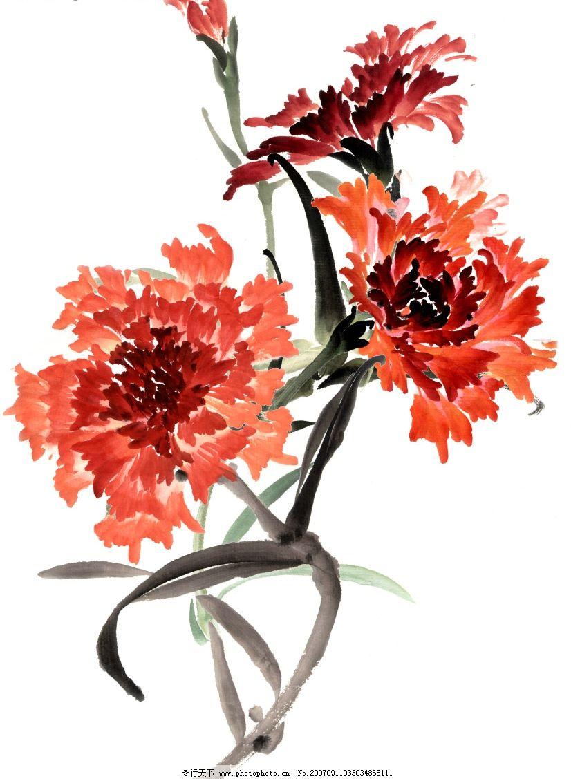 花草水墨画 小花朵 卡通花朵 韩国风格 花的漫画图 植物漫画 源文件库