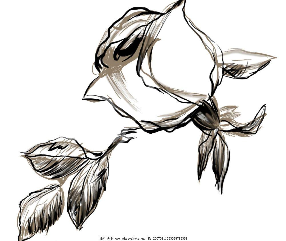 花朵水墨画 小花朵 韩国花纹psd素材 花朵psd素材 卡通花朵 韩国风格
