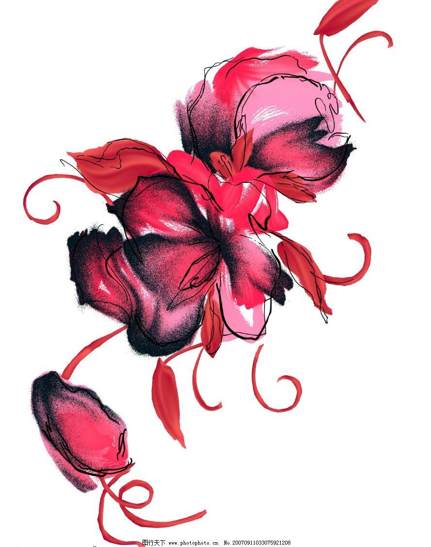 水墨花朵图案 小花朵 韩国花纹psd素材 花朵psd素材 卡通花朵 韩国