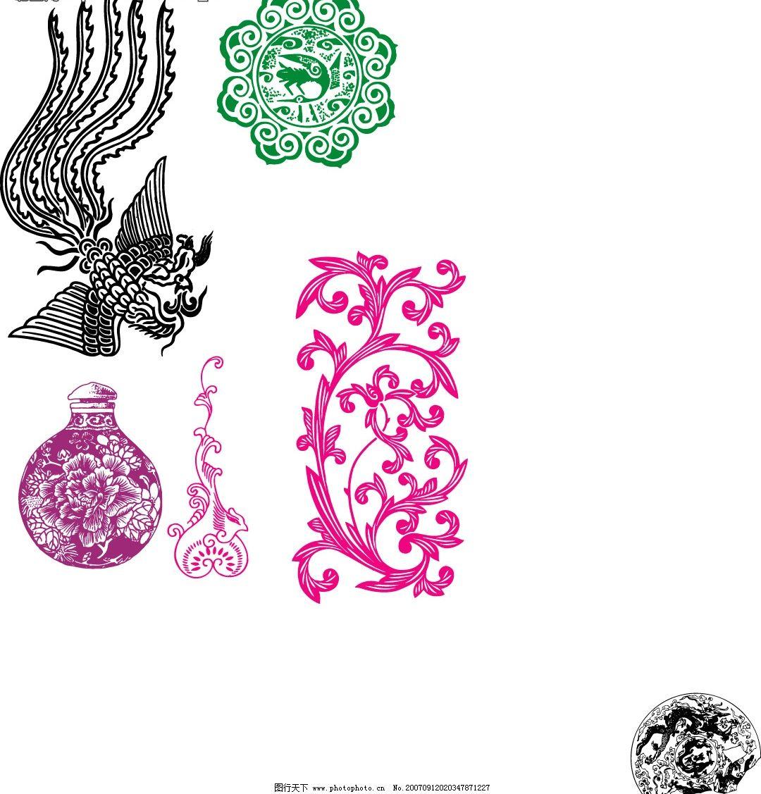 古典边框图案 底纹边框 花纹花边 中国古纹 矢量图库   cdr