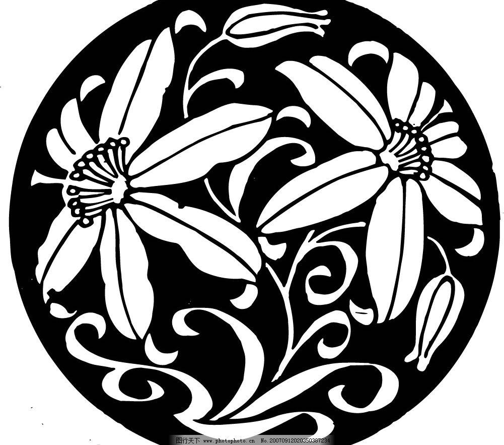 圆形花的图案 传统花纹 花纹花边 矢量图库